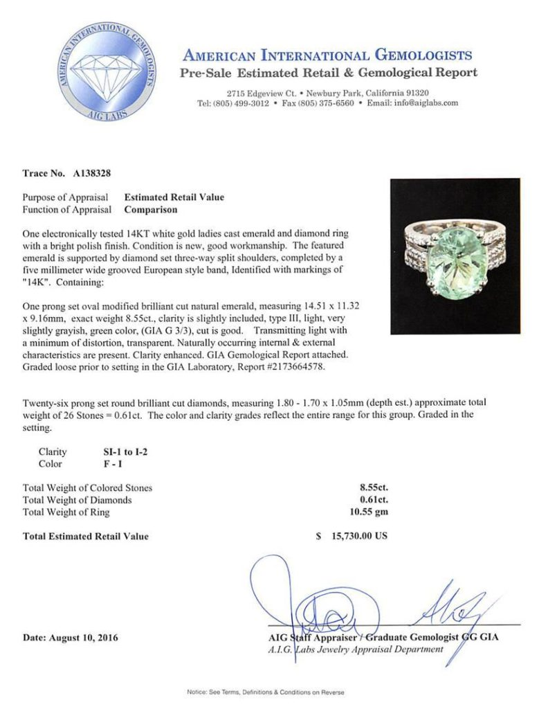 American International Gemologists - gemological report identifying green beryl as emerald