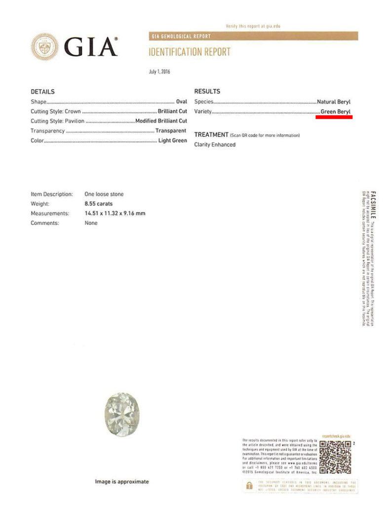 GIA certificate - green beryl