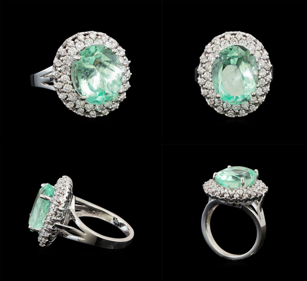 A Ring with green beryl