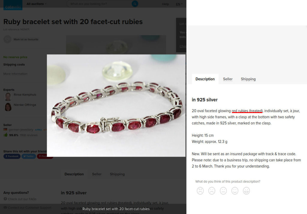 Bracelet with lead glass-filled rubies. Treatment not specified.