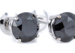 SOLITAIRE BLACK DIAMOND STUD EARRINGS on INVALUABLE AUCTION SITE