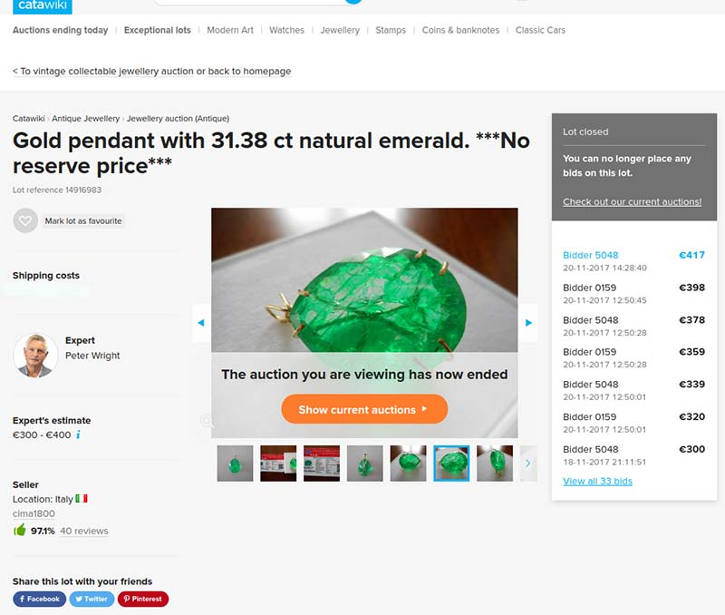 Fake emerald pendant of 31.38 carats sold on Catawiki auction site