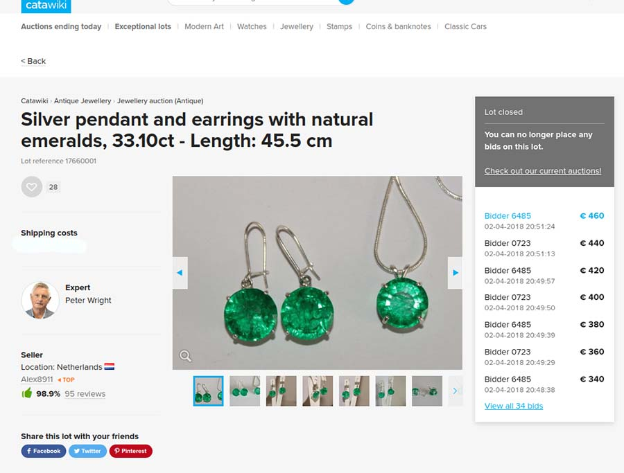 Fake emerald pendant and earrings of 33.10 carats sold on Catawiki auction site