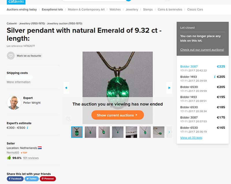 Fake emerald pendant of 9.32 carats sold on Catawiki auction site