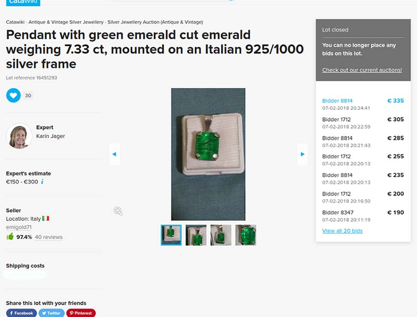 Fake emerald pendant of 7.33 carats sold on Catawiki auction site