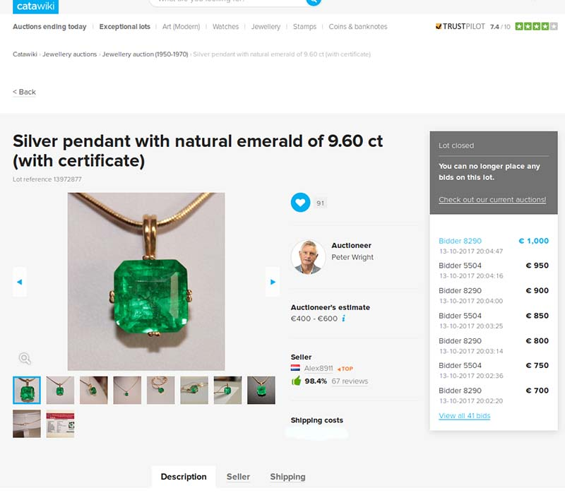 Fake emerald pendant of 9.60 carats sold on Catawiki auction site
