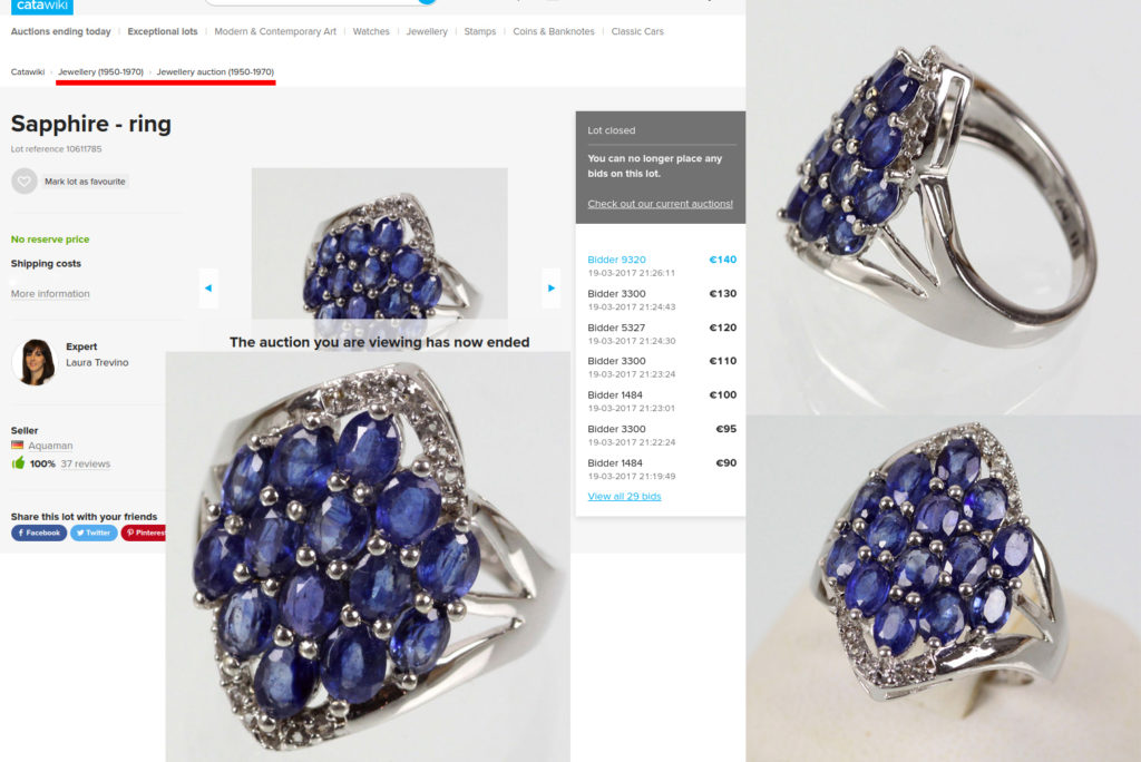 A Contemporary ring with composite sapphires sold in 1950 - 1970 category