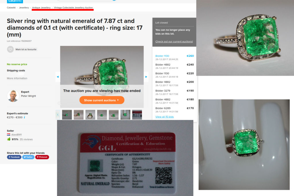 Silver ring with a fake emerald sold as vintage collectible jewelry