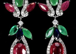 Rubies, Emeralds & Sapphires Earrings & Pendant. Seller TrulyVenusian on Etsy. Are these gemstones natural or not?