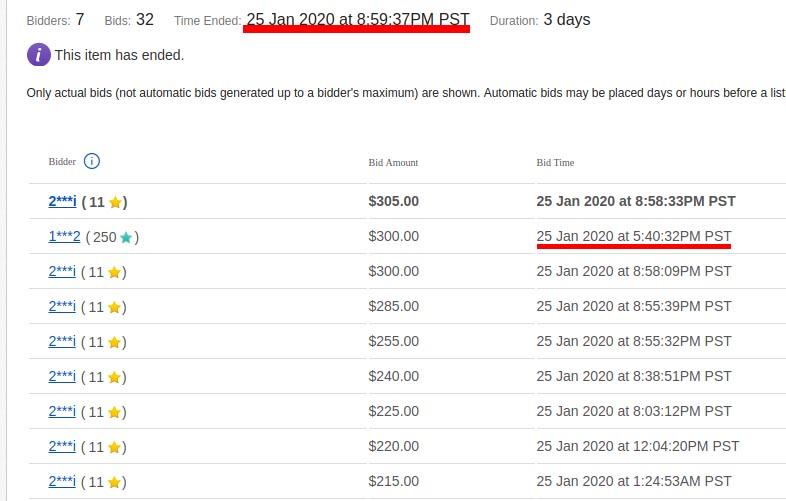 Bidder gradually increasing his bids on eBay