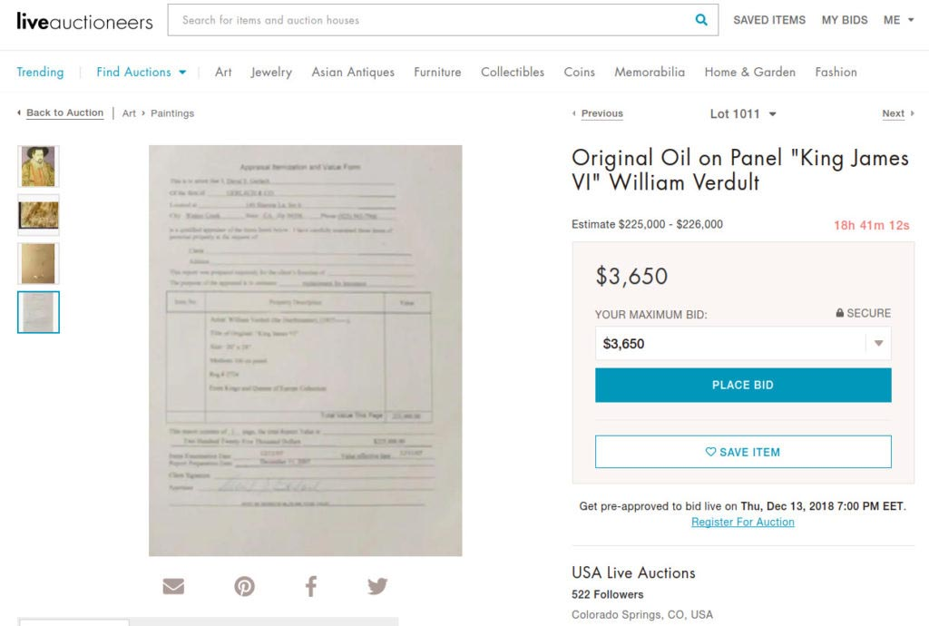 Allegedly original William Verdult with a fishy, unreadable appraisal on liveauctioneers auction site