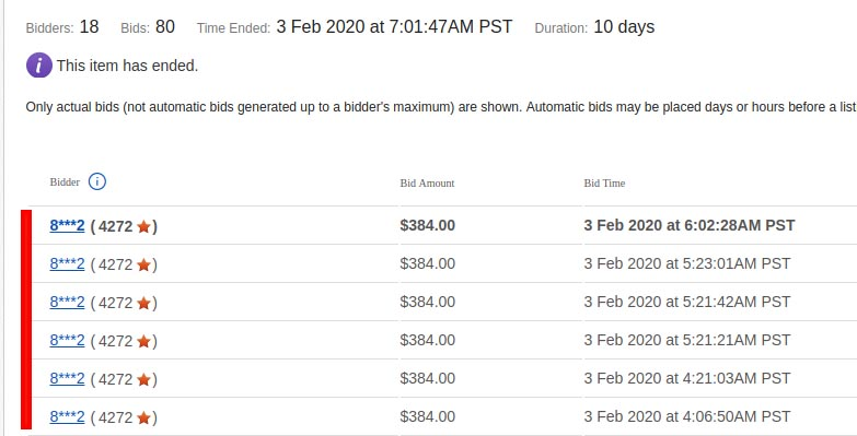 Multiple consecutive bids on eBay