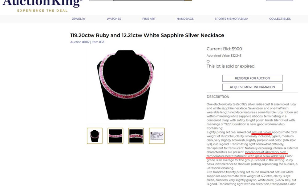 Lead glass-filled ruby necklace with a heavily inflated valuation and misleading description on Auctionking auction website