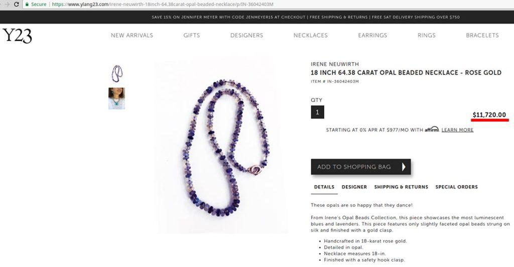 Opal bead necklace at ylang23.com