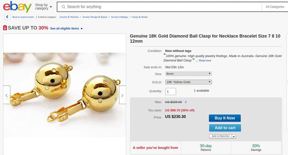 18K gold and diamond clasp at eBay