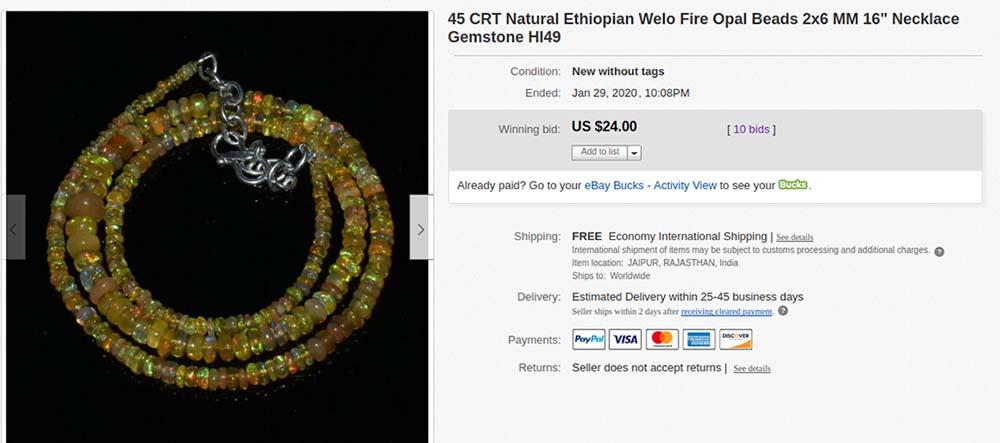 Opal necklace at eBay