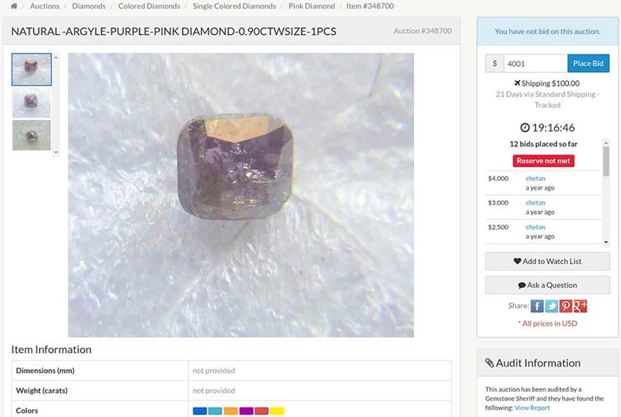 Low-quality purple-pink diamond at Gem Rock Auctions online auction