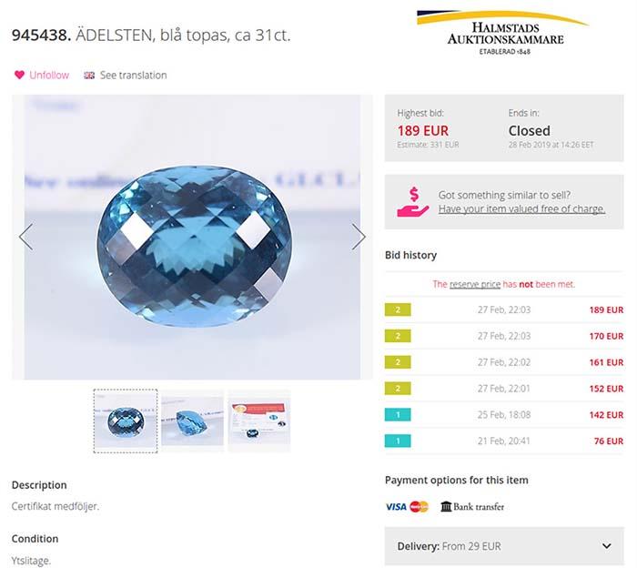 31ct Blue topaz at Auctionet auction site