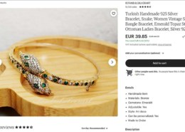Turkish Handmade 925 Silver Bracelet – Etsy.com – seller ISTANBULSILVERART – real emerald and topaz?