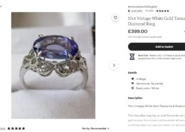 Tanzanite ring on Etsy – is the price a fair one